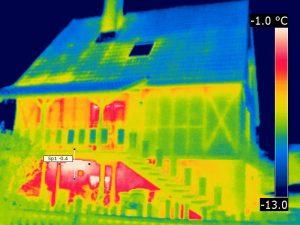 gut thermografierbar: Außenwand mit Holzständerkonstruktion