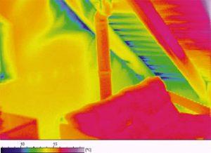 Thermogramm eines ausgebauten Dachgeschosses